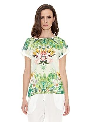 Cortefiel Camiseta Camista Estampada Tropical (Multicolor)