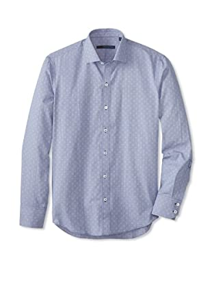 Zachary Prell Men's Lubow Patterned Long Sleeve Shirt (Navy)