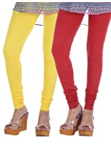 Nakhrali Women's Cotton Slim Fit Elite Churidar Leggings ( Pack of 2) (NKE-CH-CP03, Red, Lemon Yellow, XX-Large)