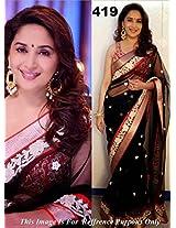 Bollywood Replica Madhuri Dixit In Black Net Designer Saree