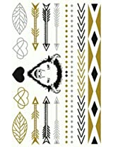 Metallic Gold Silver Black Jewelry Inspired Temporary Bling Tattoo by Eufouria Inc. YW-012
