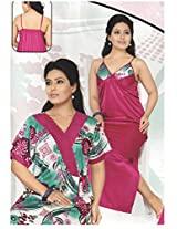 Indiatrendzs Womens Silk Satin 2pc set Nighty Dark Pink Floral Print Sexy Nightwear wear freesize