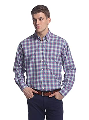 Oxxford Men's Sport Shirt with Button-Down Collar (Lavender Plaid)