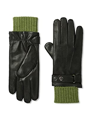 Portolano Men's Perforated Nappa Leather Lined Gloves (Black/Fern)