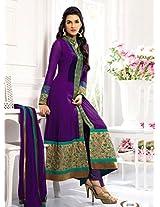 Clickedia Women Faux Gorgette Semi-Stitched Anarkali Suit (El30013-Green)