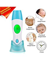 4 in 1 Multifunctional Baby Thermometer GoerTek™Forehead Ear Room Food Infrared Thermometer Instant Non-Contact Accurate Digital Thermometers with 3 Temperature Color Backlight-Safety First