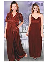 Indiatrendzs Women's Sexy Hot Nighty Maroon 2pc Set Honeymoon Nightwear Freesize