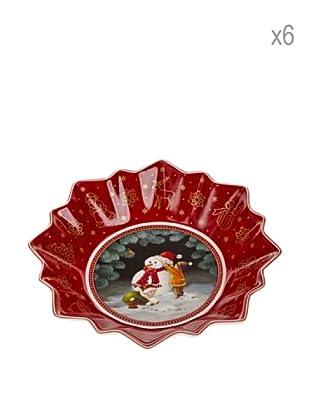 Villeroy & Boch Set 6 Bols Navidad Rojo 16,5 cm