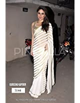 Bollywood Replica Kareena Kapoor Georgette Saree In Off White Colour