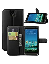 Excelsior Premium Leather Wallet Flip Cover Case For HTC One E9+ E9 Plus - Black