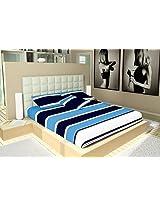 Casa Copenhagen Bleed in Blue Striped Cotton Satin Flat Bedsheet With 2 Pillow Covers - King Size, Blue