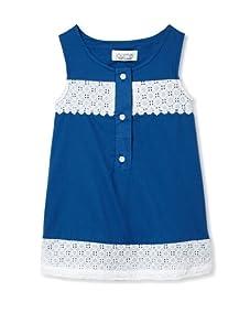 Journal Girl's Eyelet Sleeveless Button-Up Dress (White/Blue)
