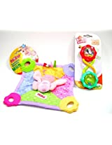 Nuby Butterfly Squeak and Crinkle Teething Blankie With Rattle and Shake Barbell