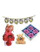 Skylofts Stylish Chocolate Basket with 4pc diya set, a cute teddy & a bandanwaar Diwali combo