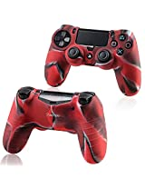 Everydaysource Compatible with Sony PlayStation 4 Controller 2 x Camouflage Navy Red Silicone Skin Case