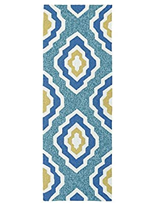 Kaleen Escape Indoor/Outdoor Rug, Blue, 2' x 6' Runner