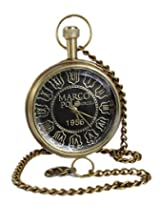 Antique Hollow Case Retro Roman Numerals Dial Mechanical Pocket Watch Brass Metal - 1.8 Inch