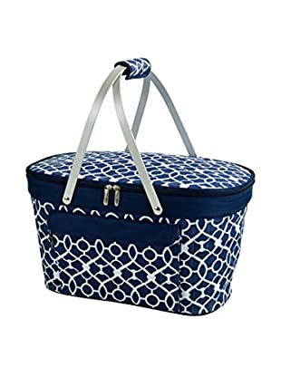 Picnic at Ascot Collapsible Insulated Basket, Trellis Blue