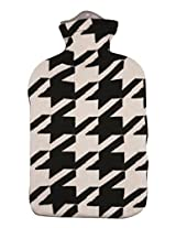 Pluchi Houndstooth Black & Natural Knitted Hot Water Bottle Cover-Large
