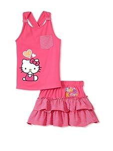 Hello Kitty Girl's 2-6X Terry Applique Skirt Set (Fuchsia)