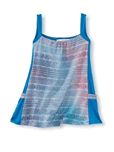 LA Lounge Girl's Sleeveless Tie Dye Dress (Teal)
