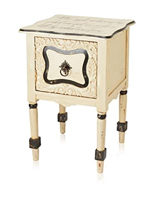 Guildmaster Carved Door Side Table, Beige/Black