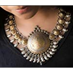 Lotus oxidised german silver dual tone boho statement necklace
