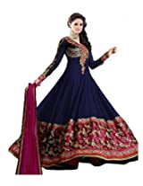 Livaaz Womens Georgette Anarkali Unstitched Dress Material (Sf100895 _Blue)