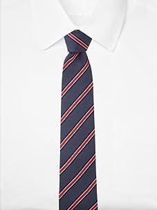 Aquascutum Men's Stripe Dot Silk Tie (Navy/Red)
