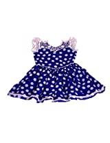 UNNATI BLUE SEMI GEORGETTE POLKA DOTS FROCK FOR GIRLS