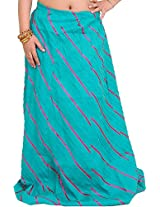 Exotic India Long Ghagra Anchor Skirt with Stitched Ribbons - Color Bright AquaGarment Size Free Size