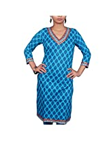 VGF 3/4 Sleeve Printed Cotton Kurti For Women-X-Large