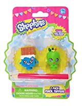 Shopkins 2 Pack Pencil Toppers Figure Set with Pencil Includes: Cheeky Chocolate & Apple Blossom