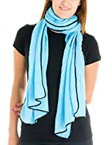 Cotton Cantina Juniors Semi Sheer Basic Scarf with Contrasting Trim (One Size, Blue)