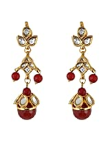 Be You Stylish White Colour Kundan Meena Work Rhodium Plated Brass Dangle Earring for Women
