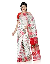 B3Fashion elegant Offwhite Dhakai Jamdani Silk saree weaved with floral motifs in red , green and zari threads all over the saree