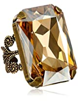 "Liz Palacios ""Arco Iris"" Swarovski Elements Golden In Hand Crystal Cocktail Adjustable Ring"
