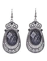 Saadi Gali Crystal Dangle & Drop Earring For Women ( Black )