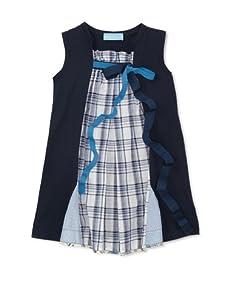 Simonetta Girls' Plaid Panel Dress (Navy)