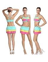 Pretty Multi Colored Salient Haltered Neck Skirted Bikini Set.