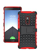 TCA Kickstand Hybrid Dual Armor Back Case Cover For OnePlus Two - Red + Mini Stylus
