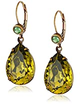 "Liz Palacios ""Arco Iris"" Swarovski Elements Khaki Teardrop Earrings"