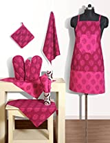 Handmade Cotton Chef's Apron Set with Pot Holder,Oven Mitts & Napkins -Perfect Home Kitchen Gift or Bridal Shower Gift,KS08-3008