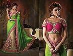 Bollywood Saree Sari Attractive Neon Green and Cream Net Lehenga Style Saree Designer Saree Sari Indian Saree Sari Party Wear Saree