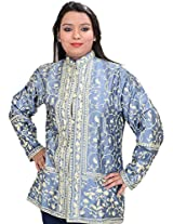 Exotic India Shadow-Blue Short Kashmiri Jacket with All-Over Ari Embroi - SilverGarment Size Large