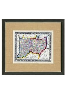 "Mitchell-Antique Map of Ohio & Indiana, 1860's-1870's, 21"" x 23"""