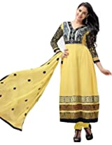 Maruti Suit Yellow Embroidered Pure Georgette Semi Stitched Anarkali Salwar Suit