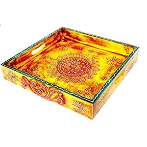 Jodhpuri's Yellow Hand Painted Square Tray