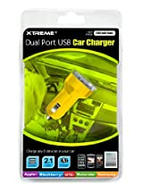 Xtreme 88022-YLW Dual Port USB Car Charger - Retail Packaging - Yellow