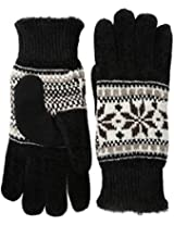 Isotoner Women's Alpine Snowflake Chenille Gloves with Suede Boomerang Palm